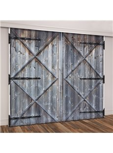 3D Rustic Country Theme Wooden Barn Door Printed Curtains