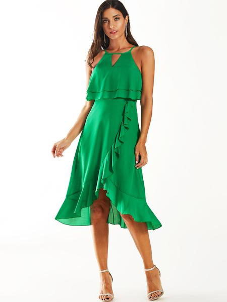 YOINS Green Cut Out Ruffle Hem Round Neck Sleeveless Dress