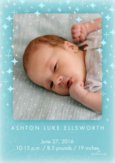 Newborn 5x7 Cards, Standard Cardstock 85lb, Card & Stationery -Starry Announcement - Blue