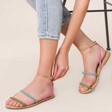 Multi Colored Rhinestone Ankle Strap Flat Sandals