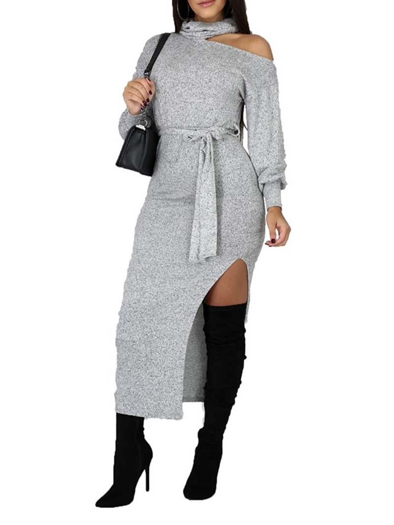 Ericdress Lace-Up Long Sleeve Mid-Calf Mid Waist Bodycon Dress