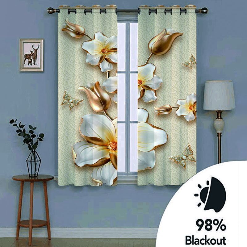 3D Vintage Floral Decoration Curtains Custom 2 Panels 98% Blackout Drapes No Pilling No Fading No off-lining