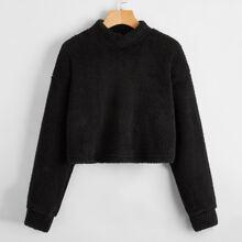 Pullover teddy corto de hombros caidos de cuello alto