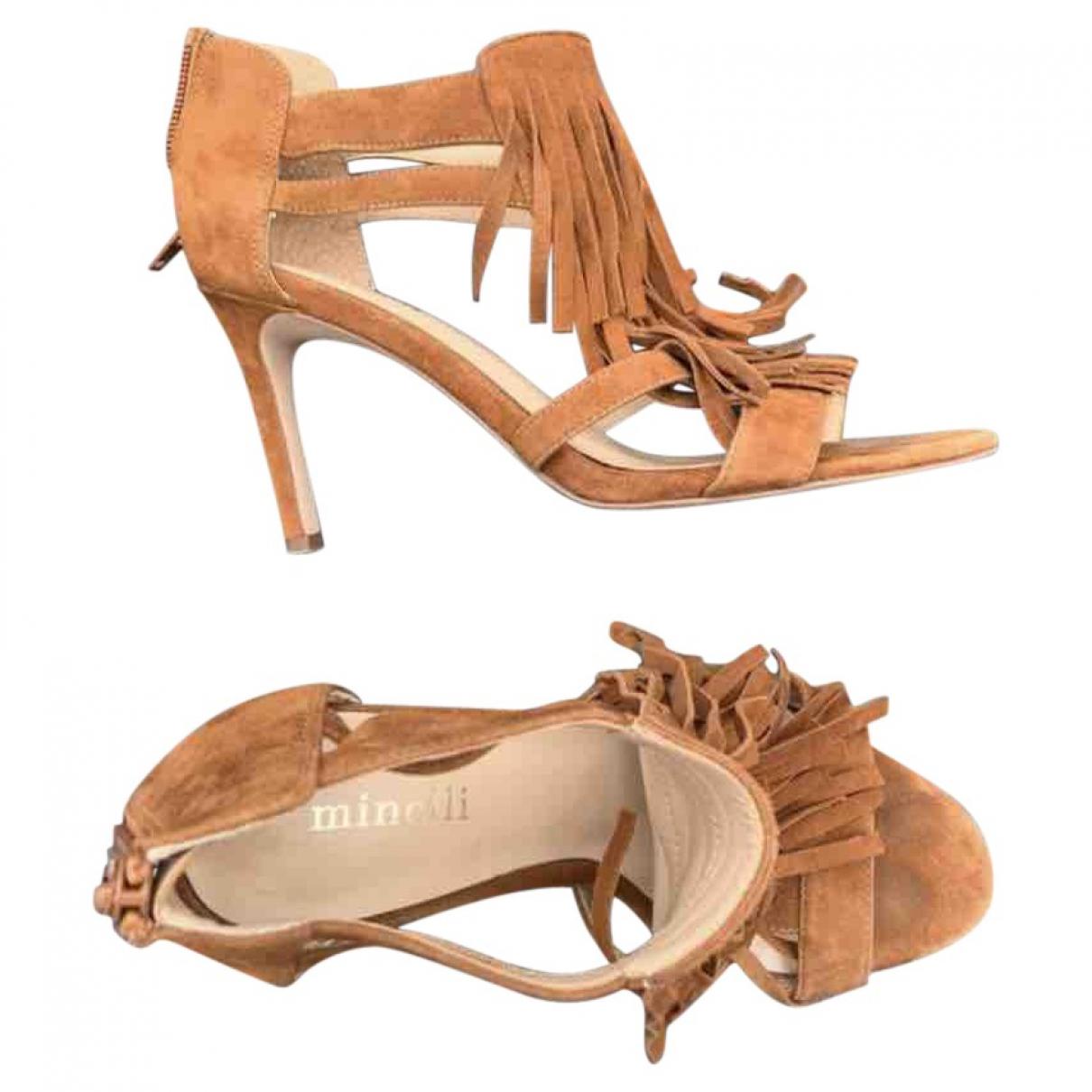 Minelli - Sandales   pour femme en suede - camel