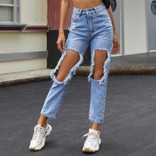 Distressed Ripped Big Hole Knee Jeans