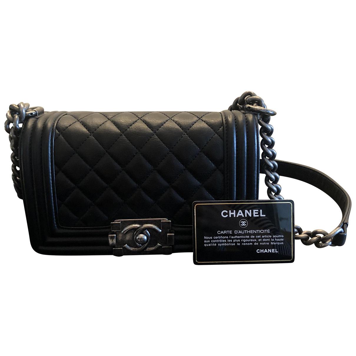Chanel - Sac a main Boy pour femme en cuir - noir