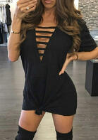 Hollow Out Casual Mini Dress - Black
