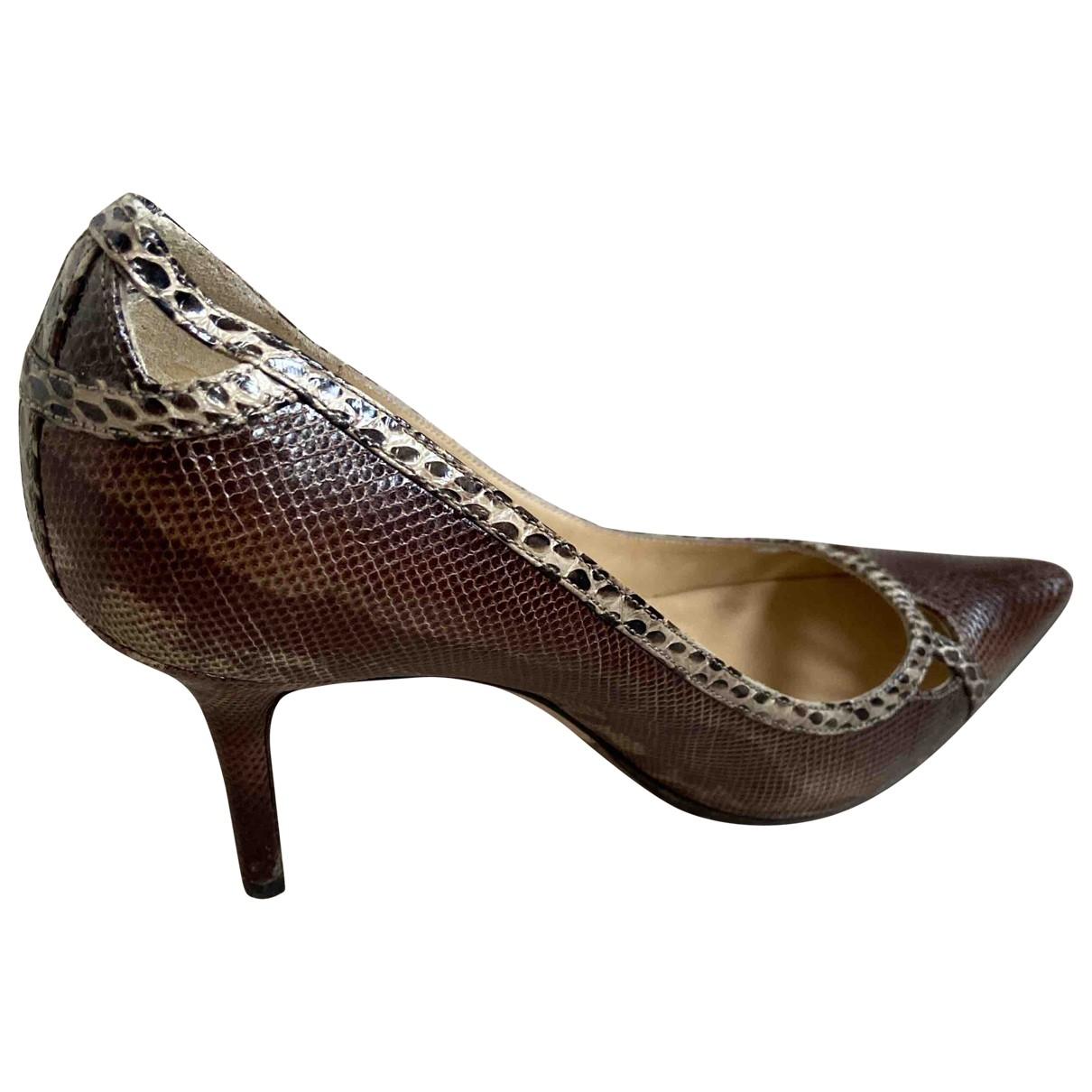 Jimmy Choo \N Brown Exotic leathers Heels for Women 36.5 EU