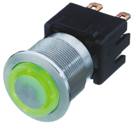 Schurter Single Pole Double Throw (SPDT) Momentary Green LED Push Button Switch, IP40, 21.20 (Dia.)mm, Panel Mount,