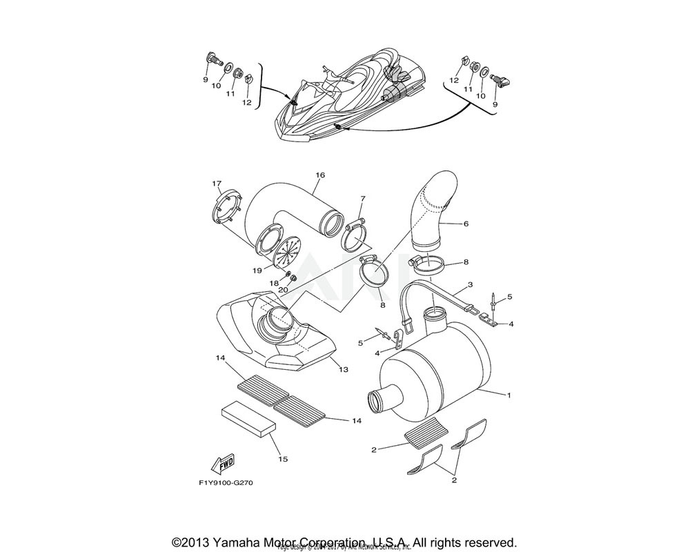 Yamaha OEM 90450-99801-00 HOSE CLAMP ASSY