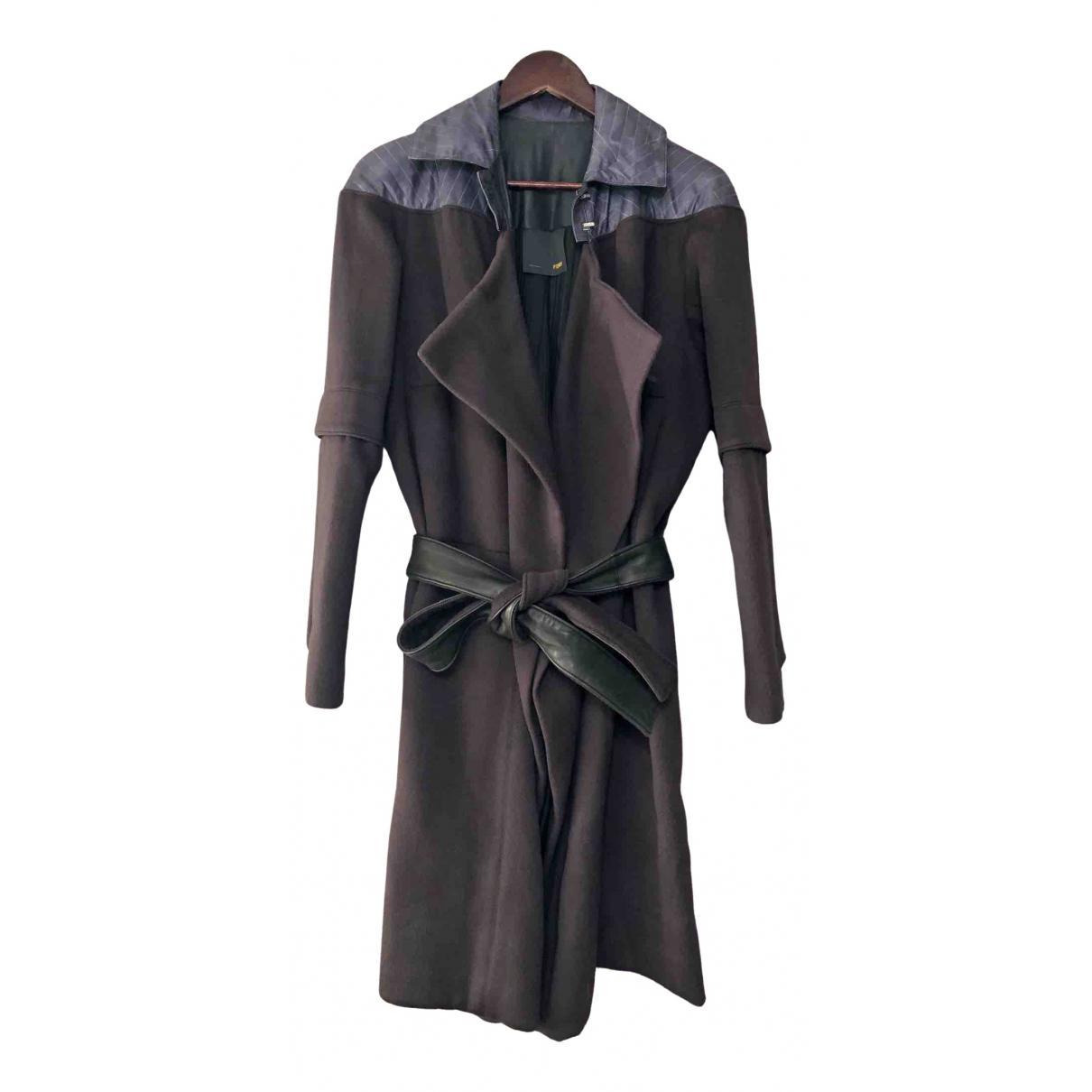 Fendi \N Grey Leather coat for Women 40 IT
