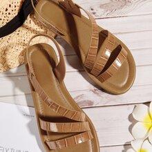 Sandalen mit Krokodil Praegung und Fersenriemen