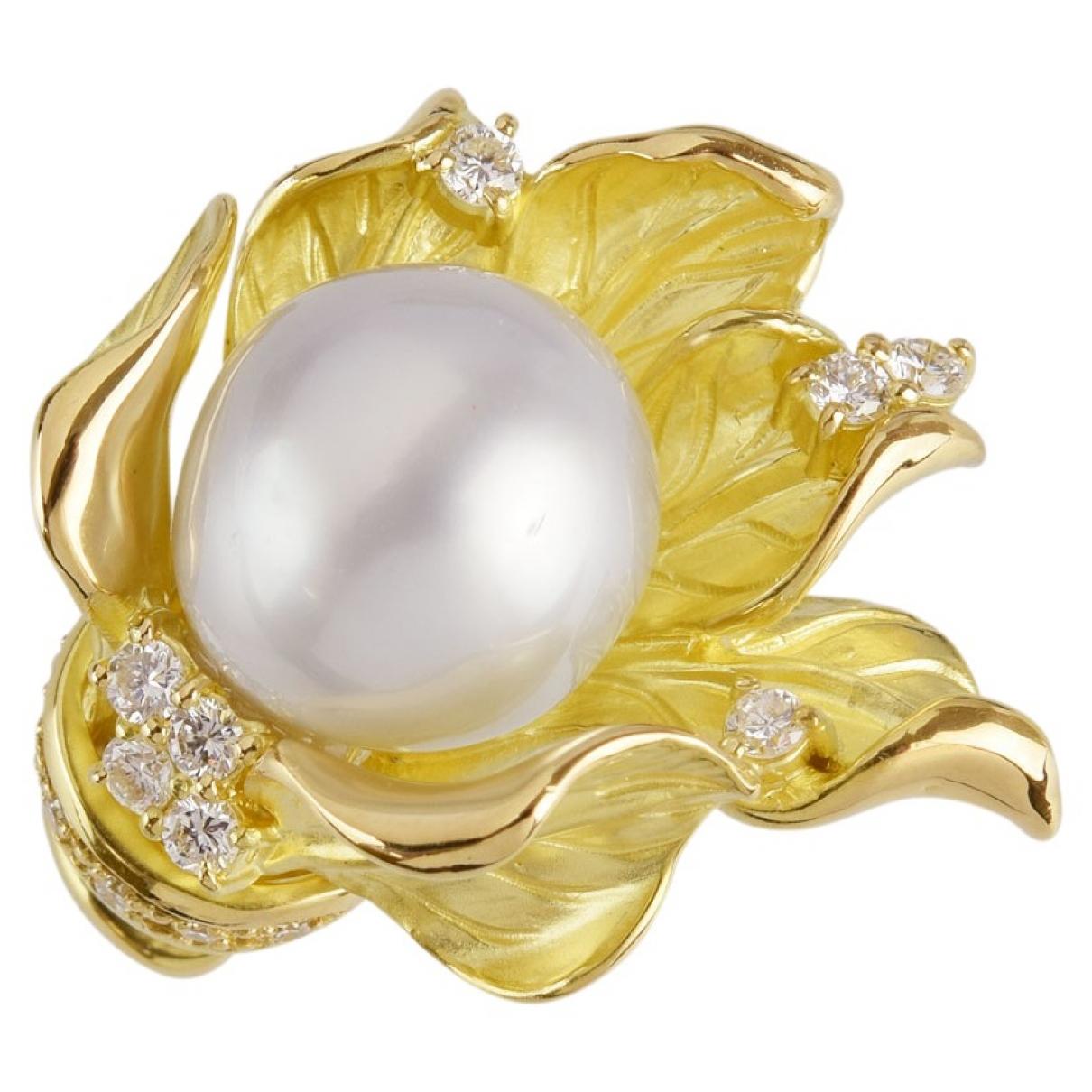- Bague   pour femme en or jaune - blanc
