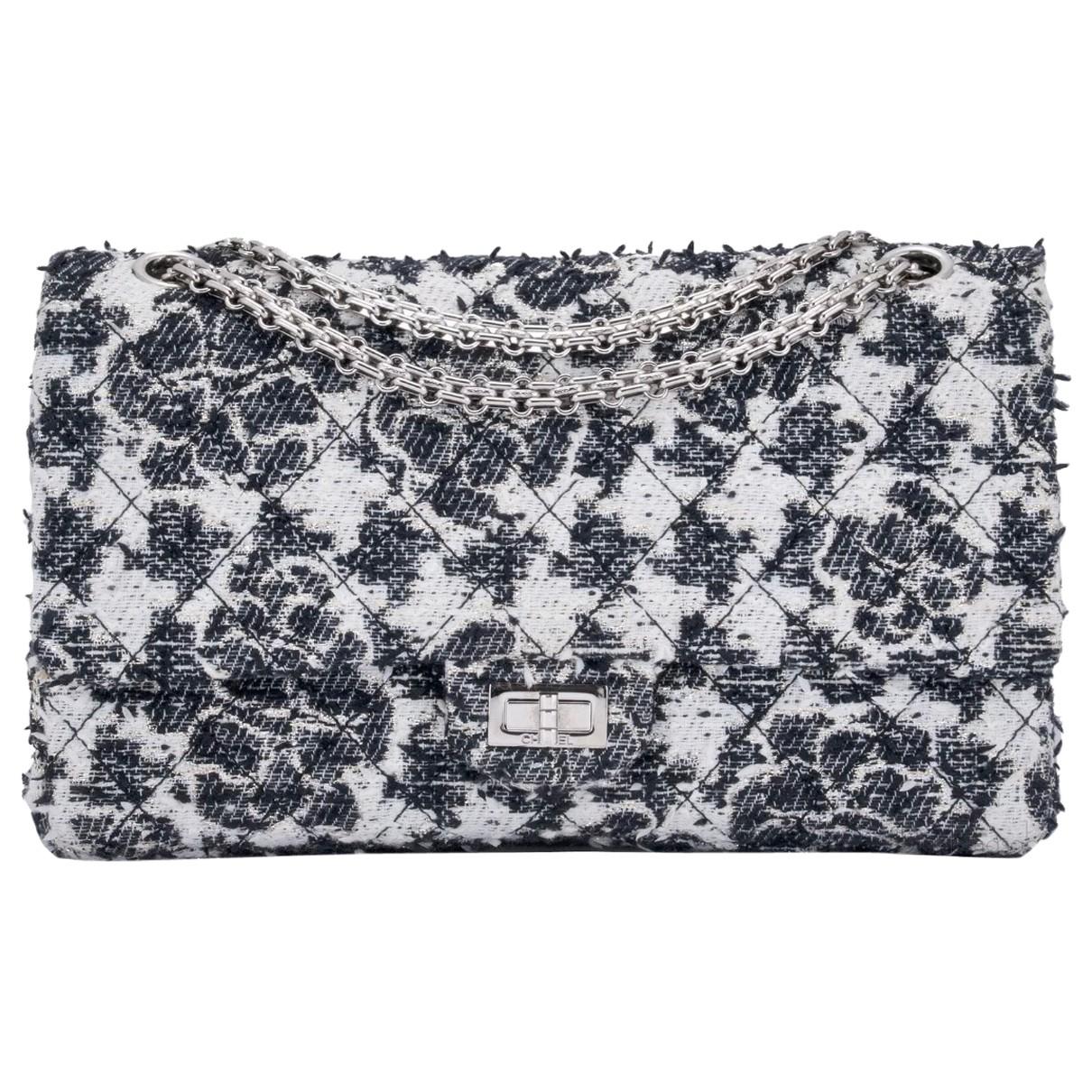 Chanel - Sac a main 2.55 pour femme en tweed - blanc