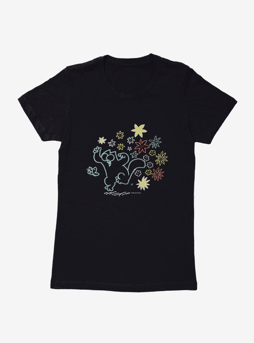 Simon's Cat Chasing Butterflies Womens T-Shirt