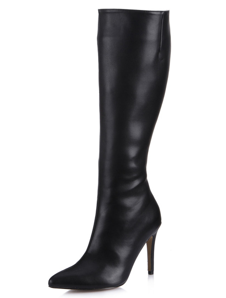 Milanoo Wide Calf High Knee Boots High Heel Black Pointed Toe Women's Knee length Shoes
