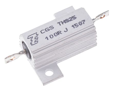 TE Connectivity THS25 Series Aluminium Housed Solder Lug Wire Wound Panel Mount Resistor, 100Ω ±5% 25W