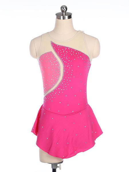 Milanoo Vestido de patinaje Rosa Poliester Trajes de baile de dos tonos
