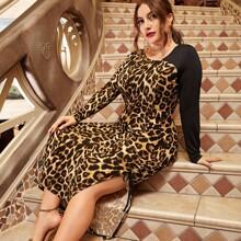 Vestidos Tallas Grandes Drapeado Leopardo Glamour