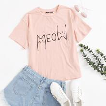 Cartoon And Letter Graphic Top
