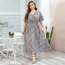 A-Linie Kleid mit Schmetterlingaermeln und Bluemchen Muster