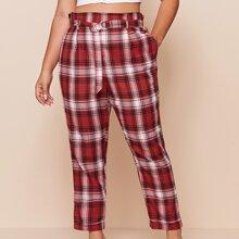 Pantalones de tartan con cinturon