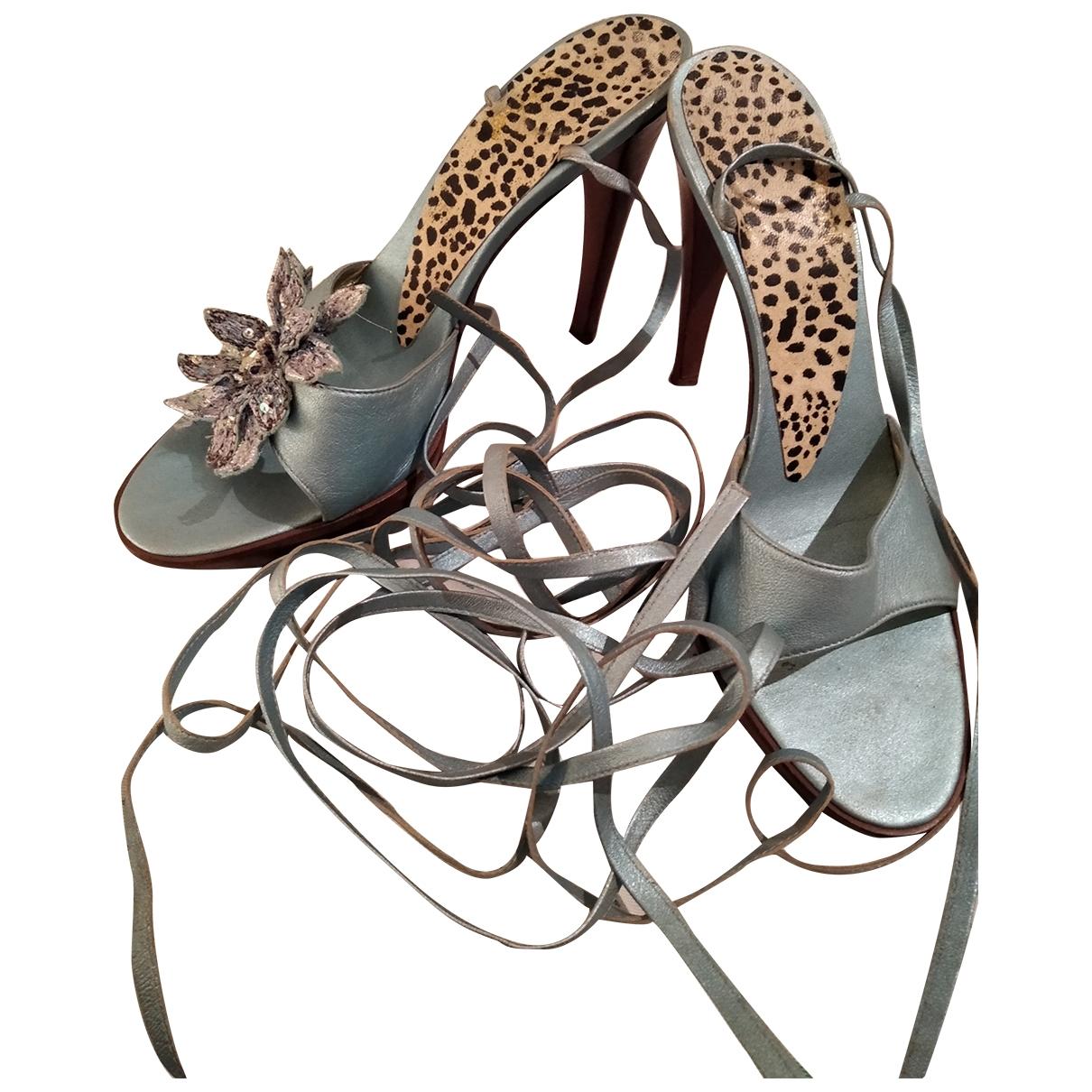 Roberto Cavalli \N Navy Leather Sandals for Women 40 EU