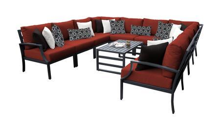 Lexington LEXINGTON-11a-TERRACOTTA 11-Piece Aluminum Patio Set 11a with 1 Left Arm Chair  1 Right Arm Chair  2 Corner Chairs  6 Armless Chairs and 1