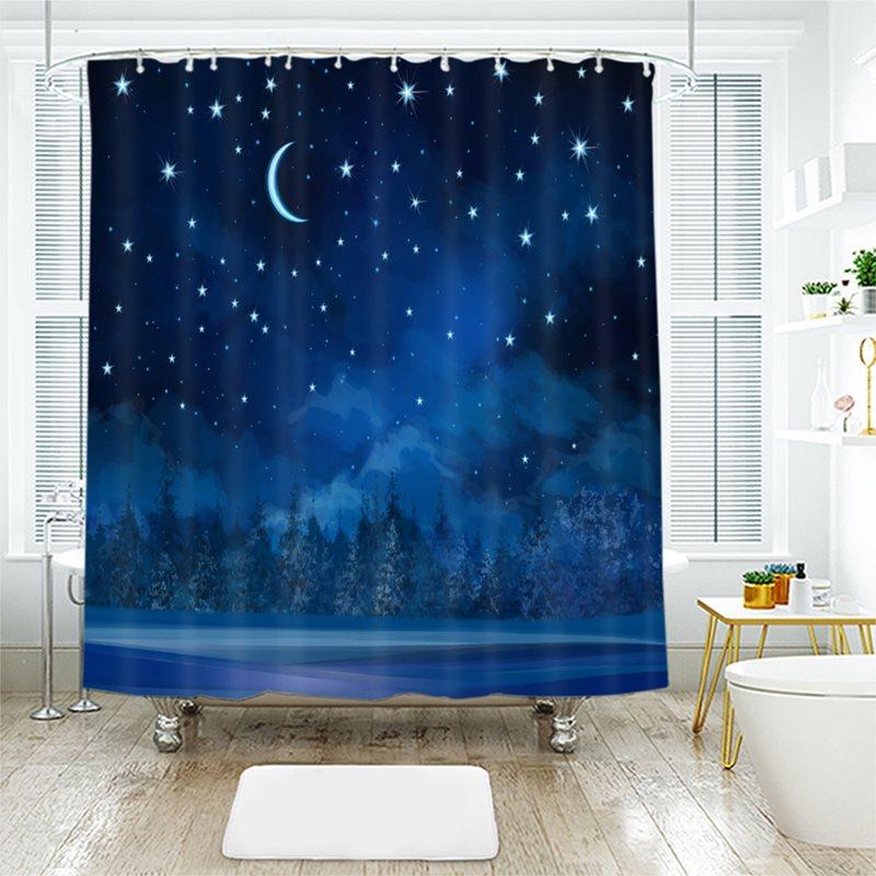 Waterproof and Mildewproof 3D Print Decorative Shower Curtain