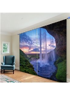 Amazing Nature Waterfall 3D Printed Polyester Curtain