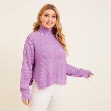 Plus High Neck Drop Shoulder Split Hem Ribbed Knit Sweater