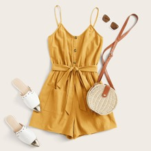 Plus Pocket Button Front Belted Cami Romper