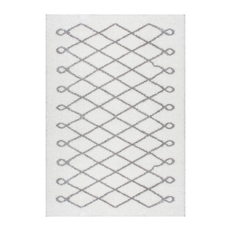 nuLoom Stasia Diamond Shag Rug, One Size , Gray