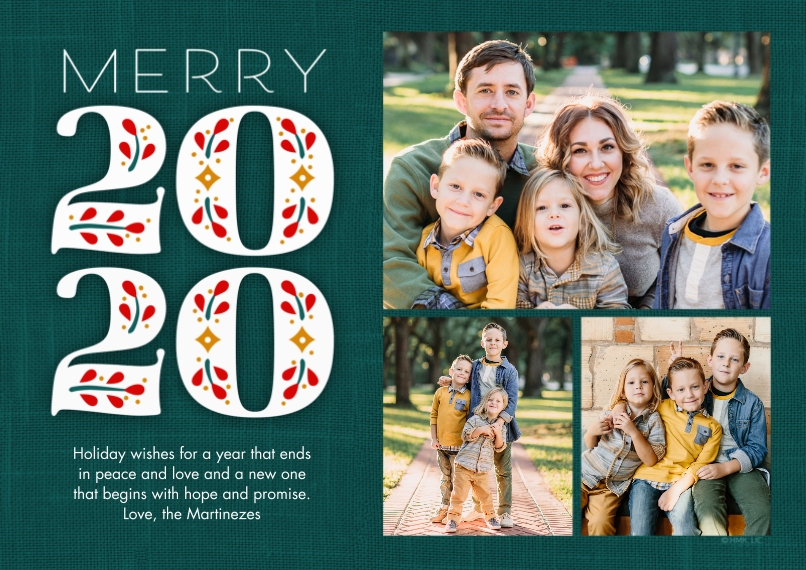 New Year's Photo Cards 5x7 Cards, Standard Cardstock 85lb, Card & Stationery -Merry 2020 by Hallmark