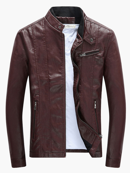 Milanoo Men Leather Jacket Stand Collar Long Sleeve Zip Up Short Jacket Black Motorcycle Jacket
