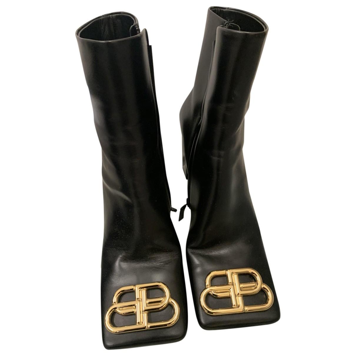 Balenciaga - Boots Double Square BB pour femme en cuir - noir