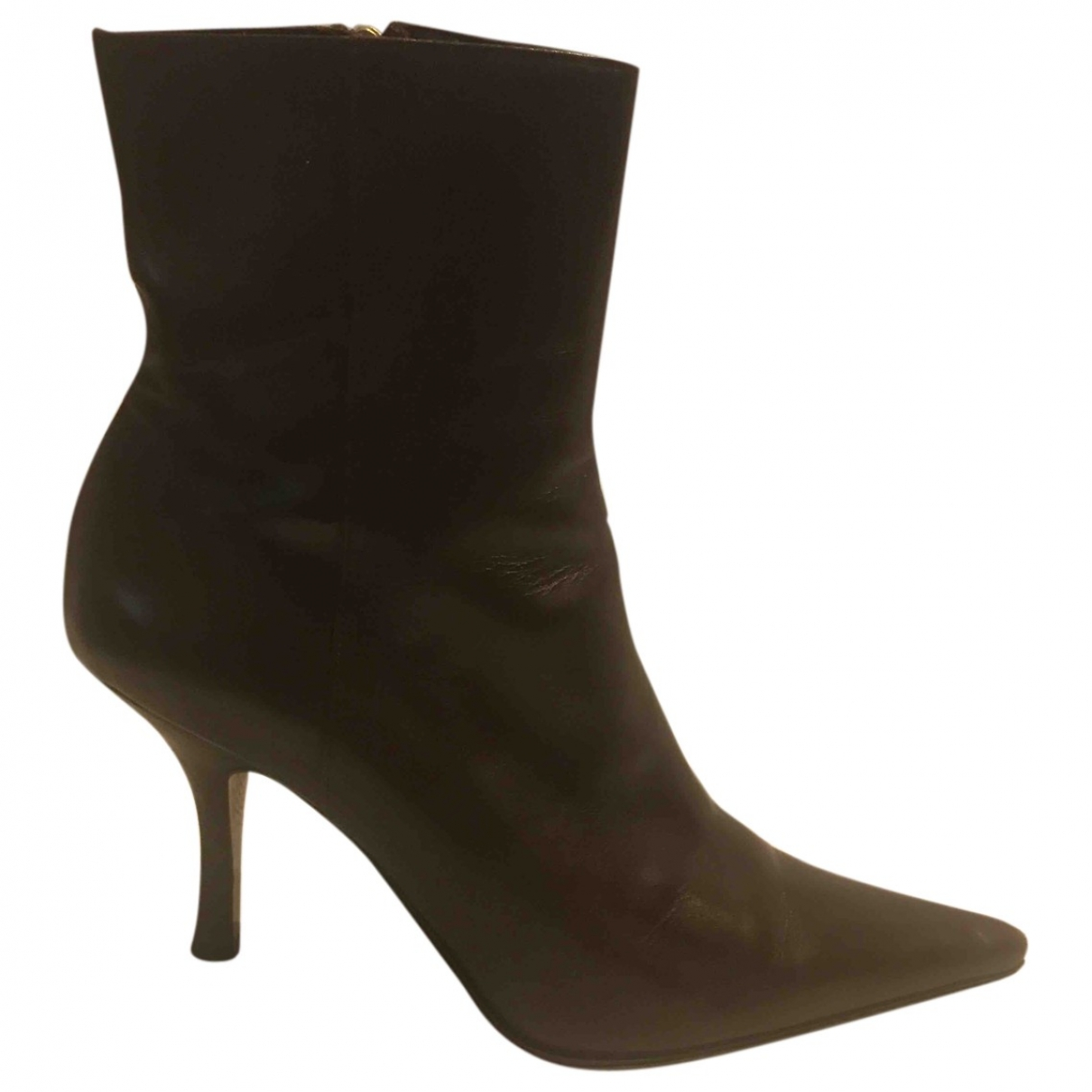 Michel Perry \N Brown Leather Ankle boots for Women 37 EU