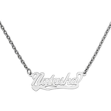 Personalized 10x31mm Heart Scroll Name Necklace, One Size , White