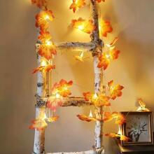 1pc 1.5m String Light With 10pcs Maple Leaf Bulb