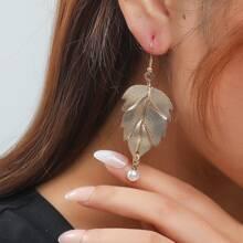 Faux Pearl Leaf Drop Earrings
