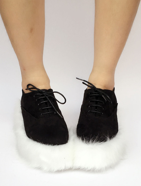 Milanoo Sweet Lolita Shoes Faux Fur Sole Two Tone Lace Up Lolita Pumps