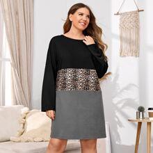 Nachtkleid mit Cut und Sew Einsatz und Leopard Muster