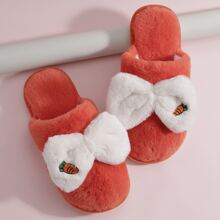 Carrot Patch Bow Decor Fluffy Slippers