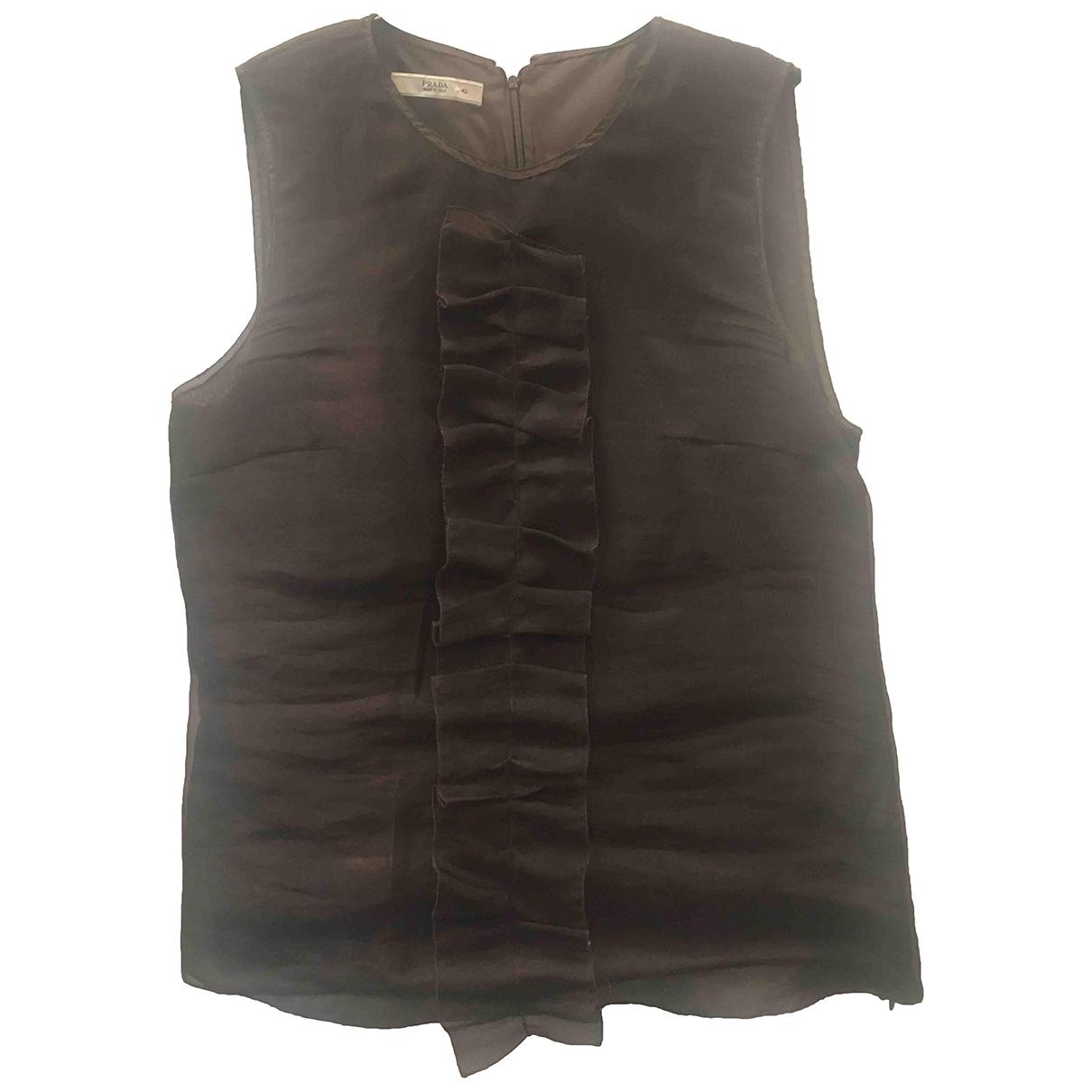 Prada \N Brown Silk  top for Women 42 IT