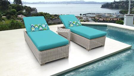 Coast Collection COAST-2x-ST-ARUBA Patio Set with 2 Chaises   1 Side Table - Beige and Aruba