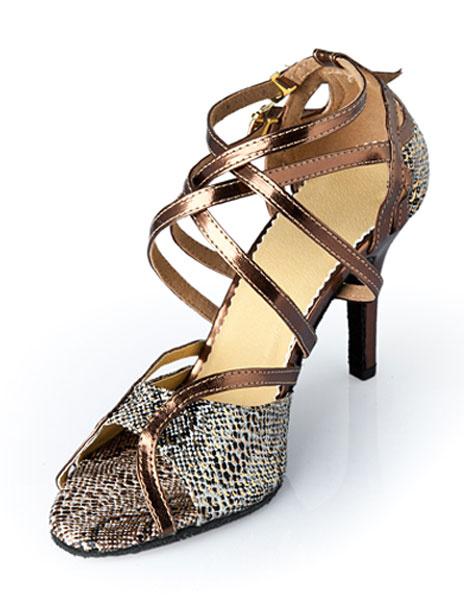 Milanoo Snake Print Open Toe Latin Dance Sandals Ballroom Shoes for Women