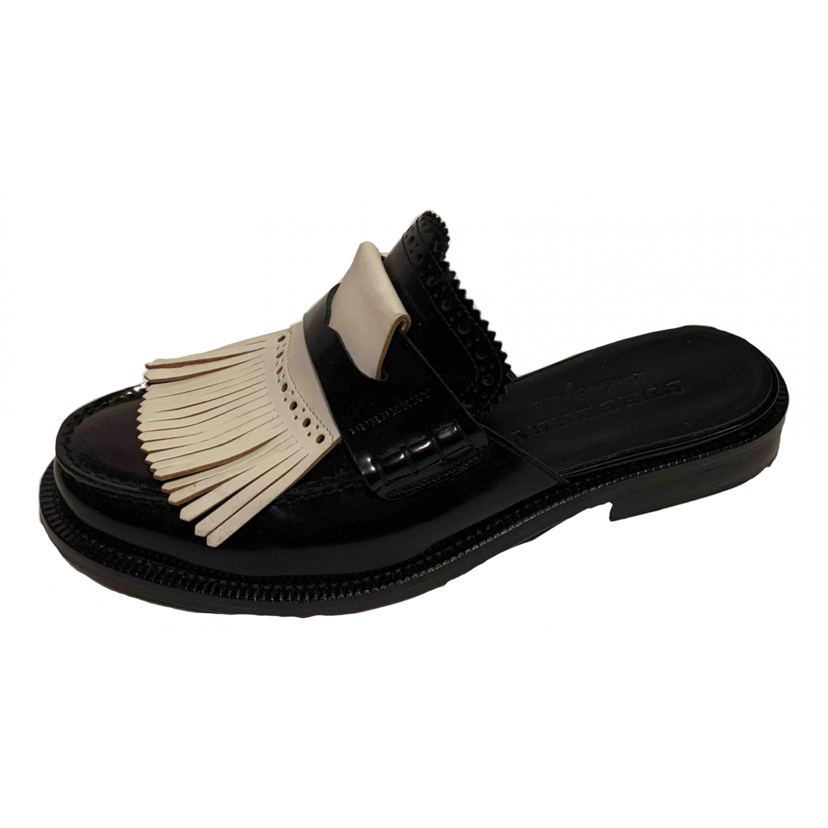 Burberry N Black Leather Sandals for Women 37.5 EU