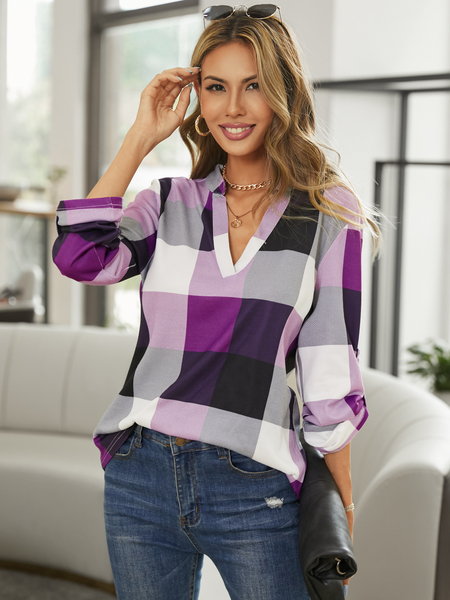 Yoins Purple Color Block V-neck Curved Hem Blouse