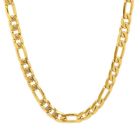Steeltime 18K Gold Over Stainless Steel 24 Inch Figaro Chain Necklace, One Size , No Color Family
