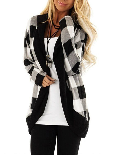 Yoins Black Open Front Hooded Design Check Cardigan